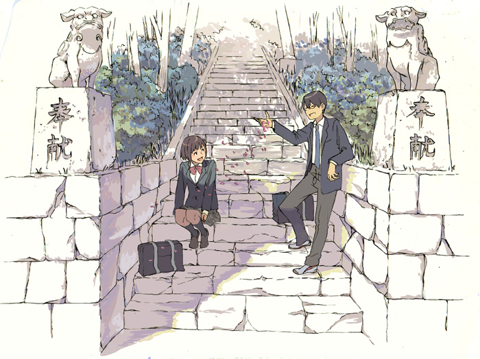 brown_hair couple glasses komainu leaning necktie original petals purimari school_uniform sitting stairs statue temple