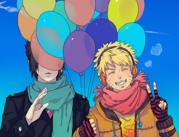 2guys black_hair blonde_hair contemporary duo earmuffs jacket jinchuuriki md5_mismatch naruto plane scarf short_hair sky smile uchiha_sasuke uzumaki_naruto v