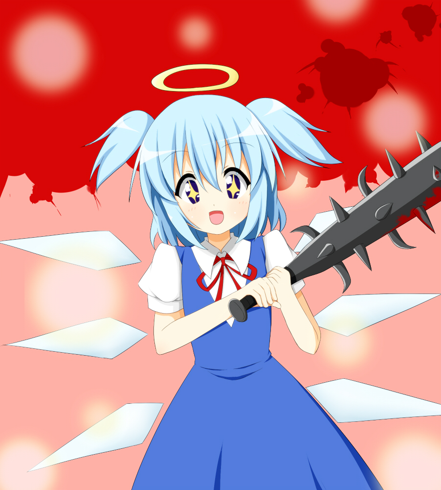 1girl :d blood bokusatsu_tenshi_dokuro-chan chiro-minami cirno club cosplay crossover excalibolg fusion halo mitsukai_dokuro mitsukai_dokuro_(cosplay) neck_ribbon open_mouth ribbon smile solo spiked_club symbol-shaped_pupils touhou twintails weapon