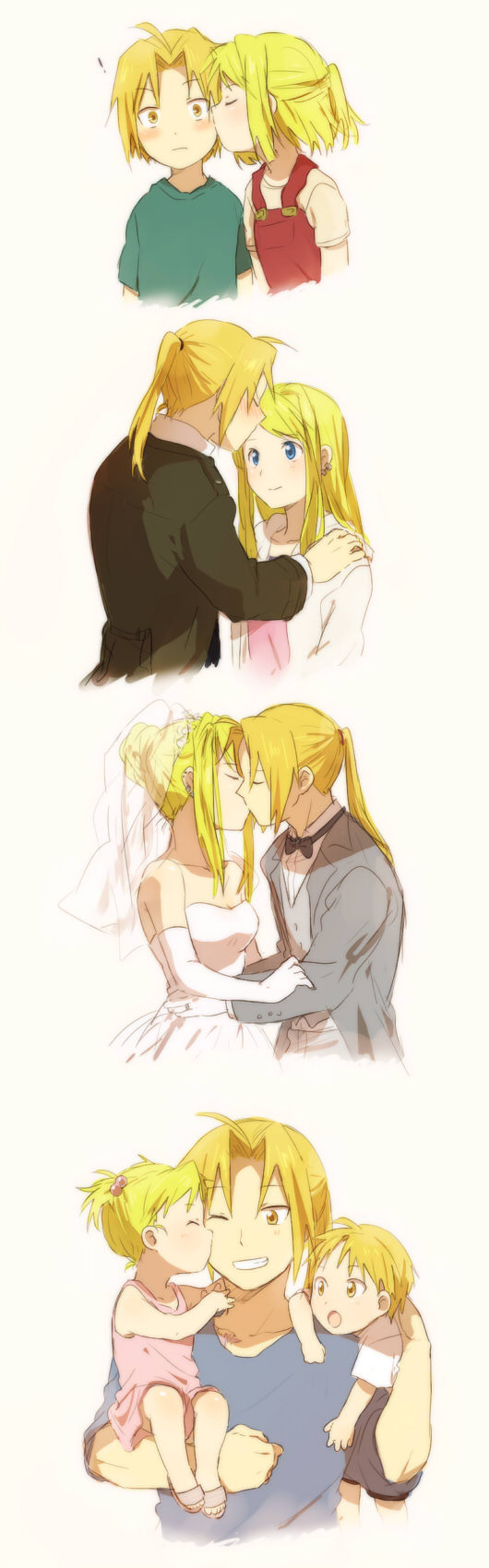bridal_veil carrying cheek_kiss couple dress edward_elric elbow_gloves forehead_kiss fullmetal_alchemist gloves highres if_they_mated kiss ponytail riru veil wedding_dress wink winry_rockbell young