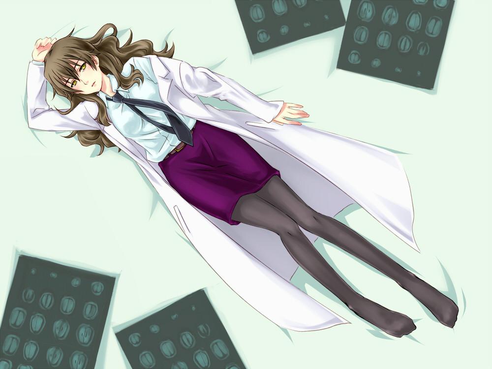 belt brain_scan brown_eyes brown_hair feet kiyama_harumi labcoat long_hair lying necktie pantyhose piku skirt to_aru_kagaku_no_railgun to_aru_majutsu_no_index