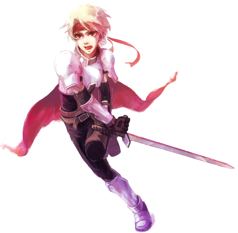 angry armor belt blonde_hair cape cless_alvein gloves headband jammyjam male simple_background solo sword tales_of_(series) tales_of_phantasia weapon white_background