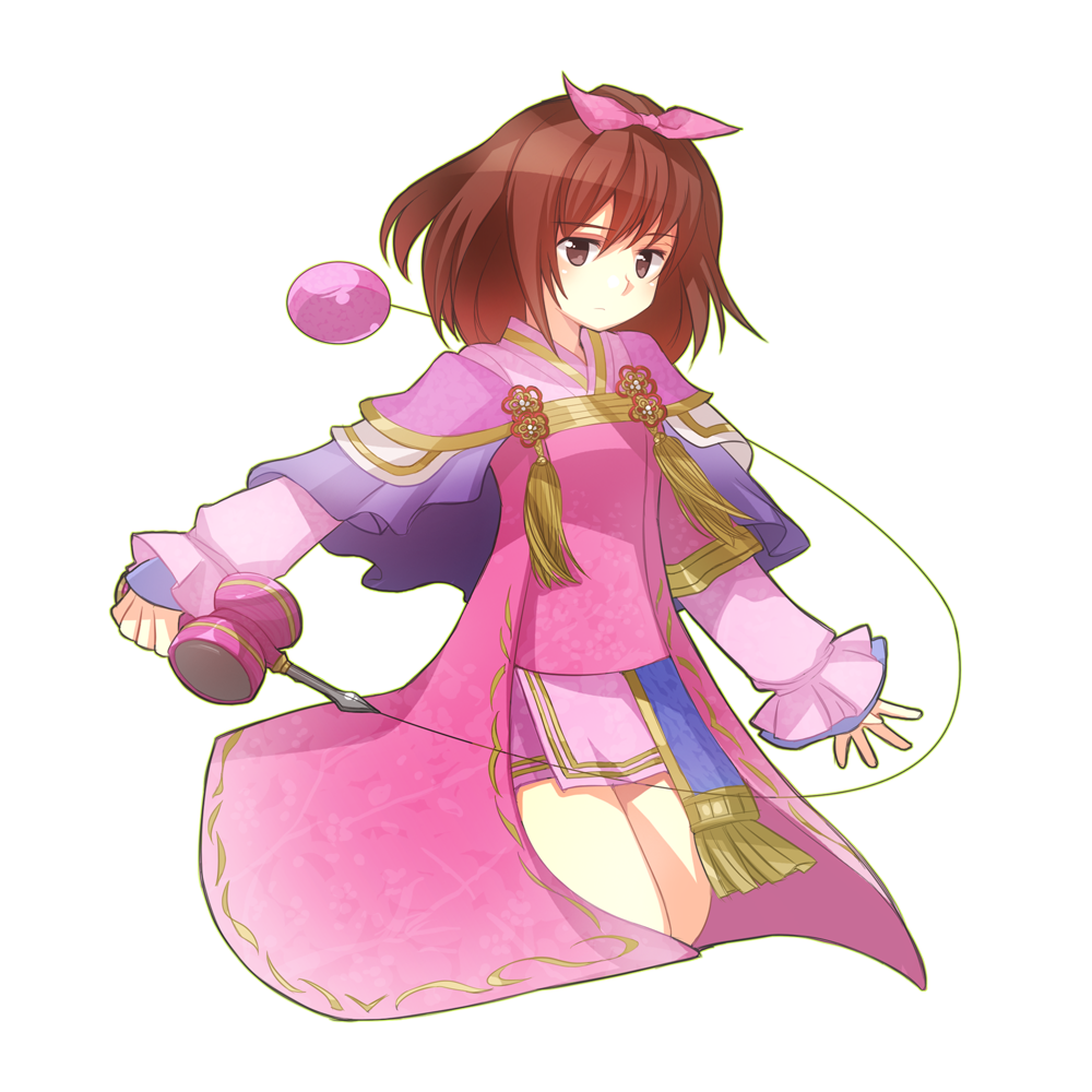 bow brown_eyes brown_hair capelet hair_bow kendama oichi oichi_(sengoku_musou) sengoku_musou sengoku_musou_2 short_hair simple_background solo