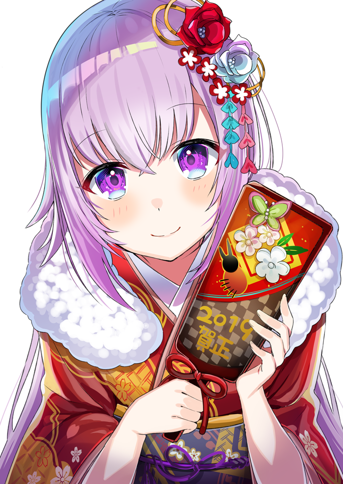 .live 1girl 2019 bangs beetle blush bug carro_pino closed_mouth commentary floral_print flower fur_collar hair_between_eyes hair_flower hair_ornament hanetsuki insect japanese_clothes kimono long_hair looking_at_viewer motsunuki new_year obi purple_hair red_kimono sash smile solo very_long_hair violet_eyes virtual_youtuber