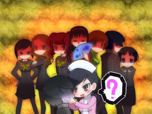 6+girls amagi_yukiko angry chiizu_ochaduke ebihara_ai kujikawa_rise matsunaga_ayane multiple_girls narukami_yuu ozawa_yumi pantyhose persona persona_4 satonaka_chie seta_souji shirogane_naoto uehara_sayoko