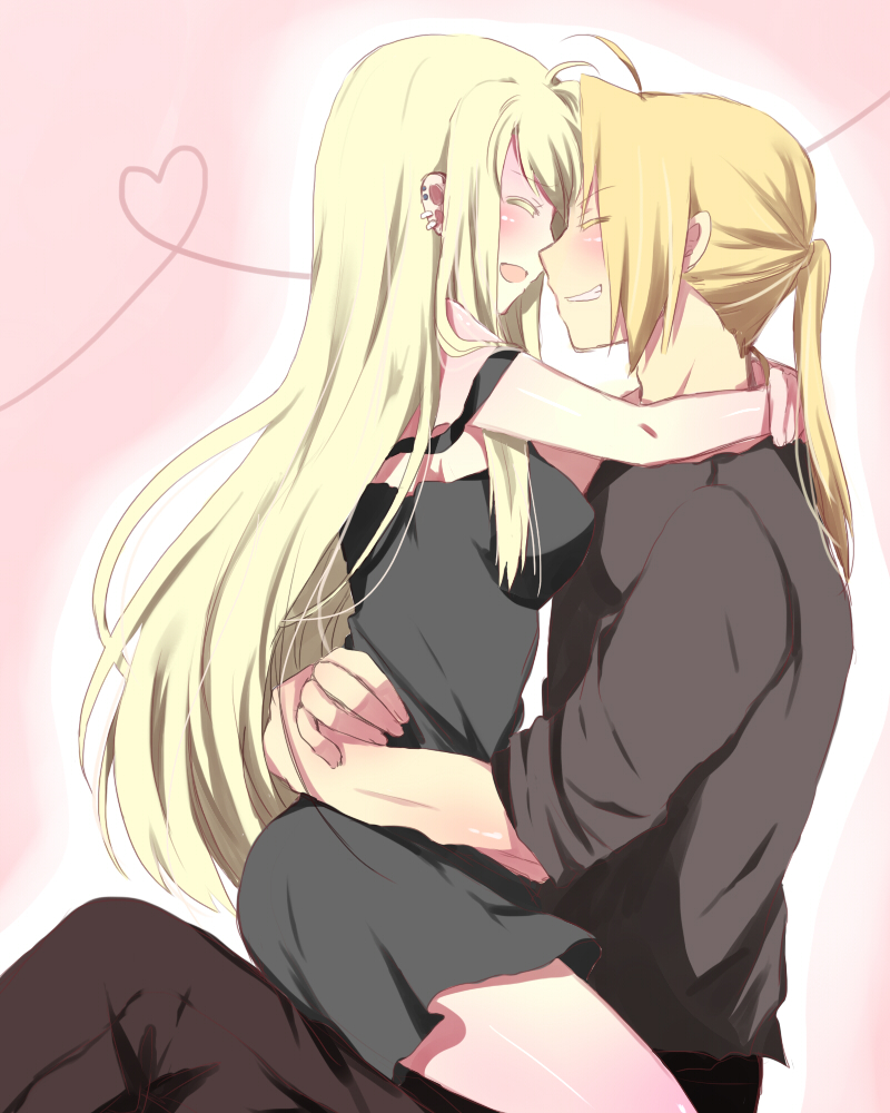 1girl ahoge bad_id black_dress blonde_hair body breasts closed_eyes colored_eyelashes couple dress earrings edward_elric eyelashes fullmetal_alchemist grin happy heart heart_of_string hug jewelry laugh legs long_hair mitsu_yomogi open_mouth ponytail short_dress sitting sitting_on_lap sitting_on_person smile strap_slip teeth winry_rockbell
