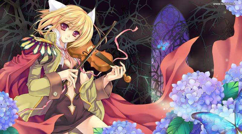 blonde_hair epaulettes flower hydrangea instrument jacket original pink_eyes riv short_hair solo violin
