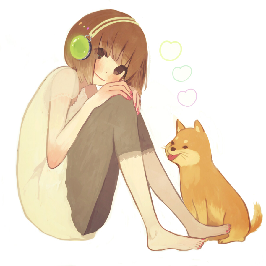 barefoot blush brown_eyes brown_hair dog feet headphones knees_on_chest leg_hug nail_polish original shiba_inu sitting smile solo tamayo