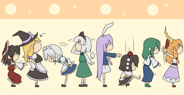 algorithm_march chibi dancing everyone hakurei_reimu ibuki_suika izayoi_sakuya kirisame_marisa kochiya_sanae konpaku_youmu multiple_girls orippa pythagoras_switch reisen_udongein_inaba shameimaru_aya simple_background squatting tileable touhou