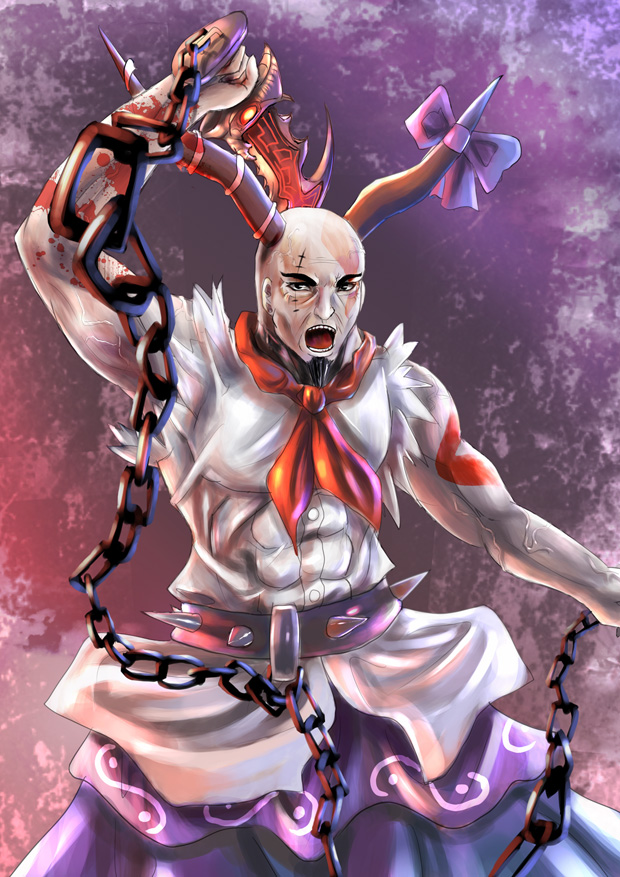 chain cosplay god_of_war horns ibuki_suika ibuki_suika_(cosplay) kratos male open_mouth ribbon touhou weapon