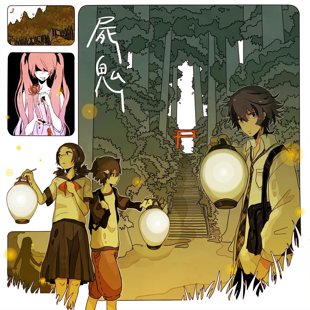 lantern messy_hair moruzo pink_hair school_uniform shiki shimizu_megumi stairs tanaka_akira tanaka_kaori torii twintails