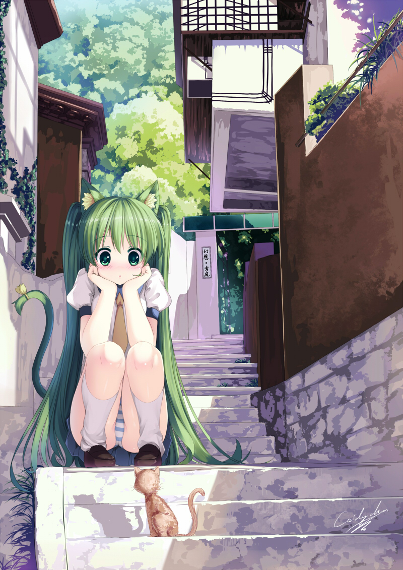 blush caidychen cat cat_ears cat_tail chin_rest green_eyes green_hair hatsune_miku kneehighs long_hair panties pantyshot pantyshot_sitting scenery school_uniform sitting stairs stare striped striped_panties tail tail_bow underwear very_long_hair vocaloid