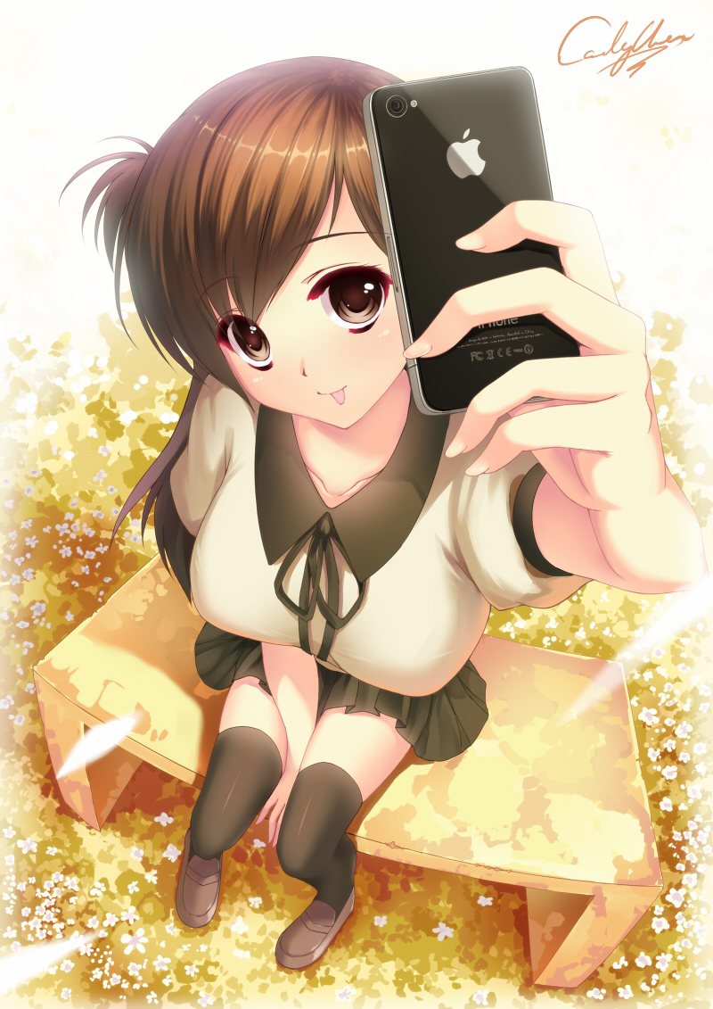 :p breasts brown_eyes brown_hair caidychen flower from_above iphone large_breasts legs long_hair original perspective phone product_placement school_uniform short_hair signature solo thigh-highs thighhighs tongue