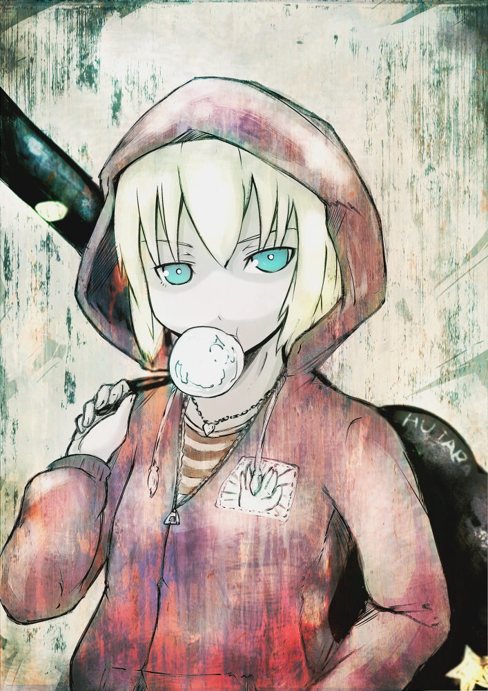 blonde_hair blue_eyes bubblegum guitar_case hoodie instrument_case kon_futaba koohee sibanoue soredemo_machi_wa_mawatteiru