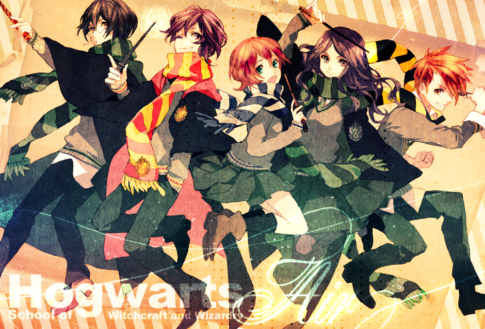 black_hair brown_hair glasses harry_potter long_hair red_hair sato_(vintage) scarf school_uniform short_hair skirt striped striped_scarf wand