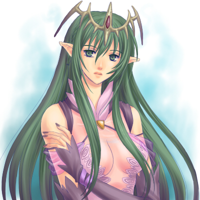 breasts cleavage detached_sleeves fire_emblem fire_emblem:_monshou_no_nazo green_eyes green_hair headdress long_hair lowres nagi_(fire_emblem) ohmi_blue pointy_ears see-through