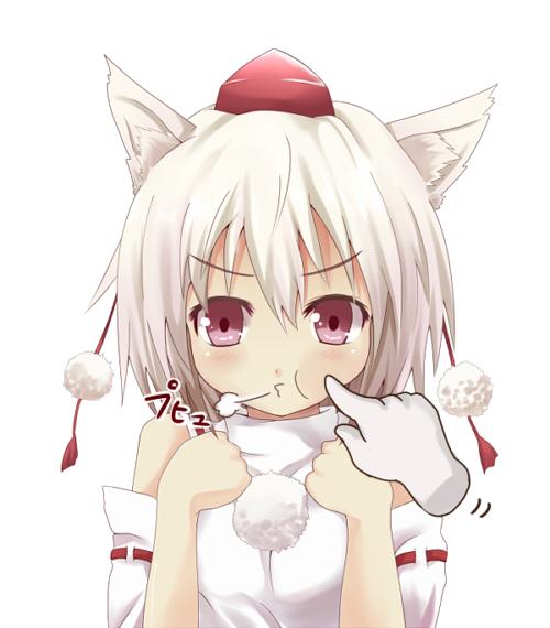 clenched_hands disembodied_limb efe face hat inubashiri_momiji magic_hands o3o poke poking pout red_eyes tokin_hat touhou white_hair
