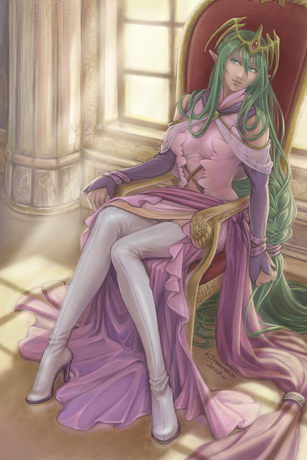 breasts cleavage detached_sleeves fire_emblem fire_emblem:_monshou_no_nazo green_eyes green_hair headdress kinoeneko long_hair nagi_(fire_emblem) pointy_ears single_braid skirt thigh-highs thighhighs throne very_long_hair zettai_ryouiki