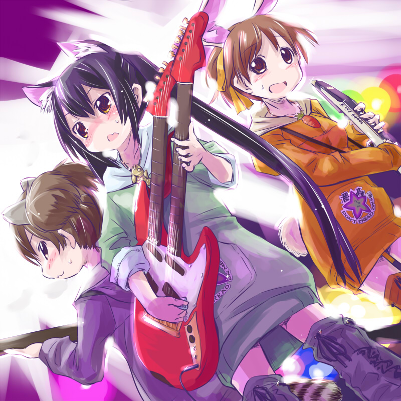 animal_ears black_hair brown_eyes brown_hair bunny_ears cat_ears dutch_angle electric_wind_instrument guitar hirasawa_ui hoodie instrument k-on! long_hair mtr multiple_girls nakano_azusa ponytail rabbit_ears raccoon_ears short_hair suzuki_jun twintails