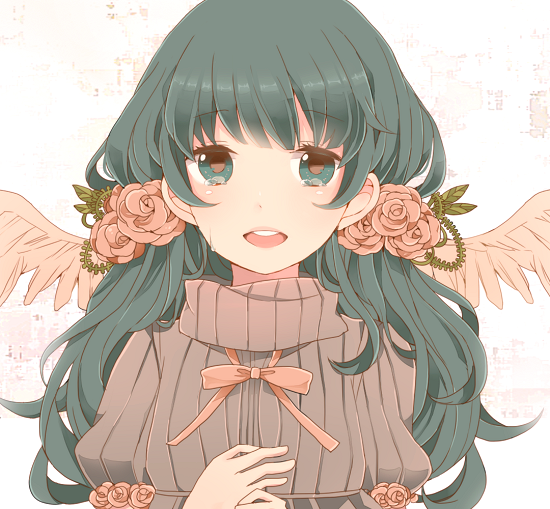 alternate_costume alternate_hairstyle bad_id bust face flower hatsune_miku heart komine pink_rose rose solo sweater tears turtleneck vocaloid wings