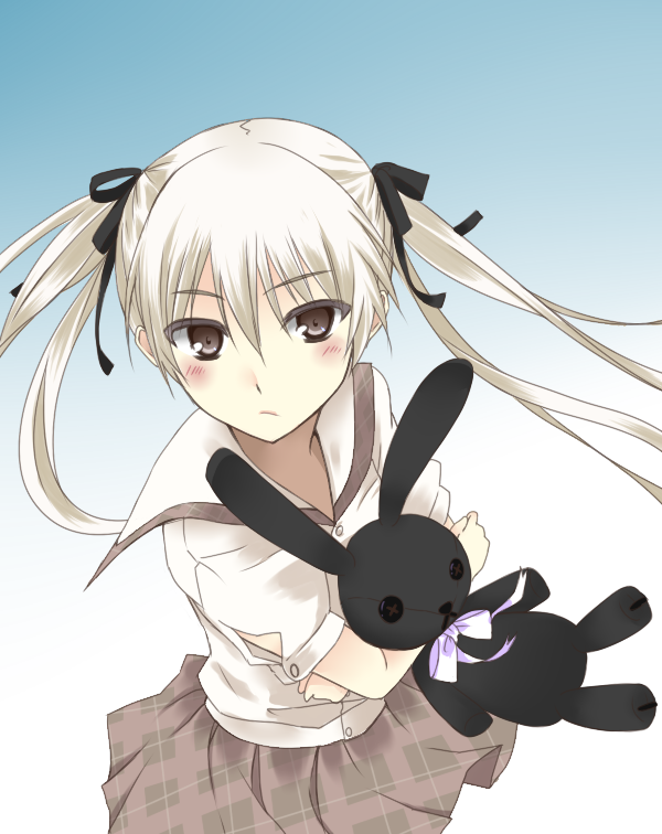 blush doll doll_hug hachimikks_(artist) hair_ribbon kasugano_sora long_hair plush plush_hug ribbon school_uniform serafuku skirt stuffed_animal stuffed_toy twintails white_hair yosuga_no_sora
