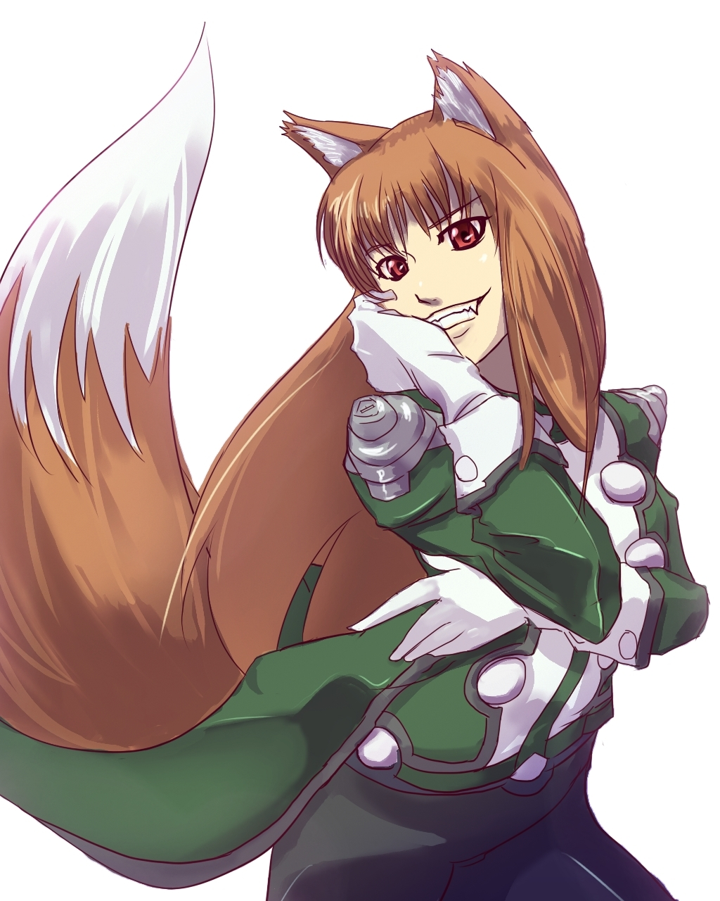animal_ears brown_hair cosplay fangs gloves grin hand_on_another's_face hand_on_face hand_on_own_face highres holo lobelia_carlini lobelia_carlini_(cosplay) long_hair long_sleeves mochi_suki red_eyes sakura_taisen sakura_taisen_iii simple_background smile solo spice_and_wolf tail uniform wolf_ears wolf_tail