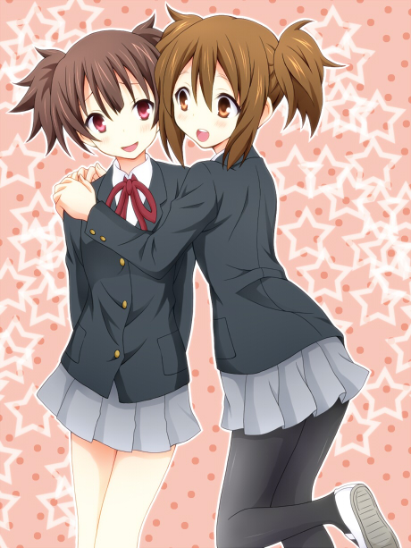 bad_id brown_eyes brown_hair hirasawa_yui hug k-on! pantyhose red_eyes school_uniform shoes short_hair short_twintails suzuki_jun tenzaru twintails uwabaki