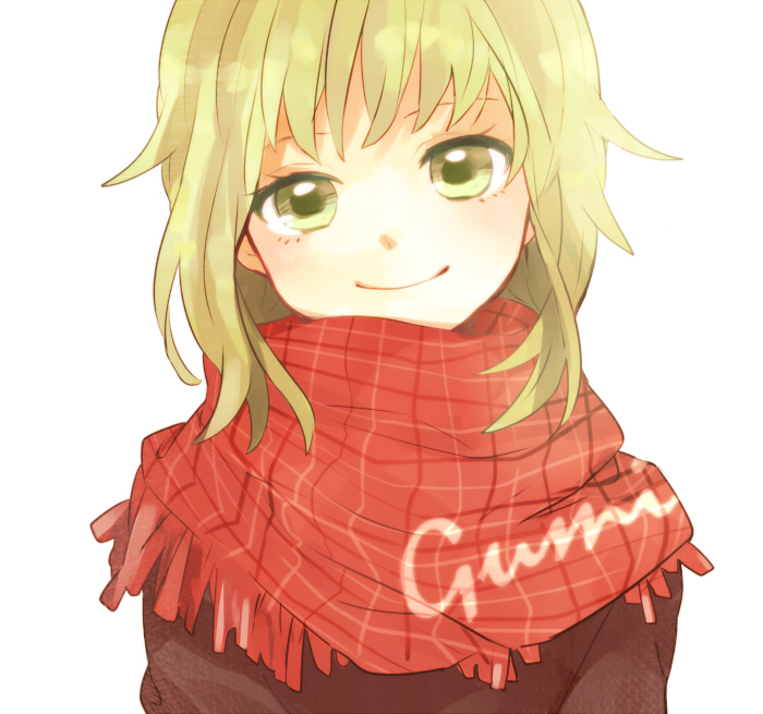 bangs character_name face green_eyes green_hair gumi head_tilt plaid plaid_scarf scarf short_hair simple_background smile solo tama_(songe) tartan vocaloid white_background