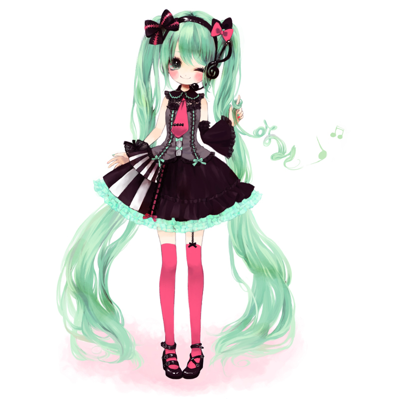 asymmetrical_clothes asymmetrical_clothing bad_id blush bow child detached_sleeves dress female full-body garter_straps green_eyes green_hair hair_bow hair_twirling hatsune_miku headset kabasawa_kina long_hair musical_note necktie simple_background skirt smile solo standing thigh-highs thighhighs twintails upright very_long_hair vocaloid wink