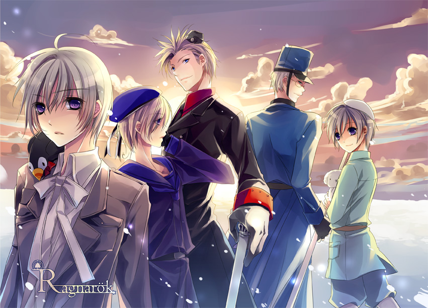 axis_powers_hetalia bad_id bird bishounen black_ribbon blade blonde_hair blue_eyes denmark_(hetalia) dog finland_(hetalia) hair_ornament hairclip hanatamago_(hetalia) huayne iceland iceland_(hetalia) light_smile looking_back male military military_uniform multiple_boys necktie norway_(hetalia) pale_skin purple_eyes ribbon scarf silver_hair sky snow sun sweden_(hetalia) sword uniform violet_eyes weapon white_hat