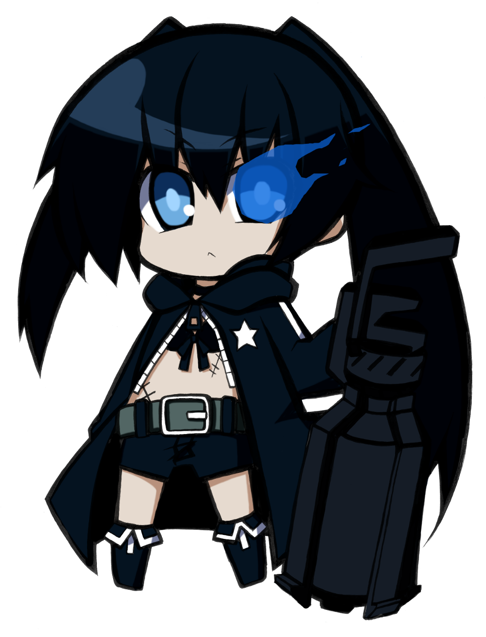 black_hair black_rock_shooter black_rock_shooter_(character) blue_eyes chibi coat highres long_hair midriff navel pale_skin scar shorts shun_ss sword thigh_gap thighs transparent_background twintails weapon