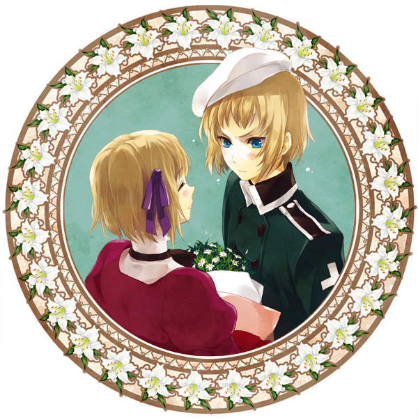 1girl axis_powers_hetalia blonde_hair blue_eyes blush circle couple cross dress flower kurosawalena liechtenstein_(hetalia) light_smile lily_(flower) male military military_uniform pale_skin purple_ribbon red_dress ribbon short_hair smile switzerland_(hetalia) uniform white_hat