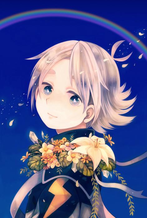 blue_eyes flower fubuki_shirou inazuma_eleven inazuma_eleven_(series) jacket kikinikoi rainbow short_hair sky smile white_hair