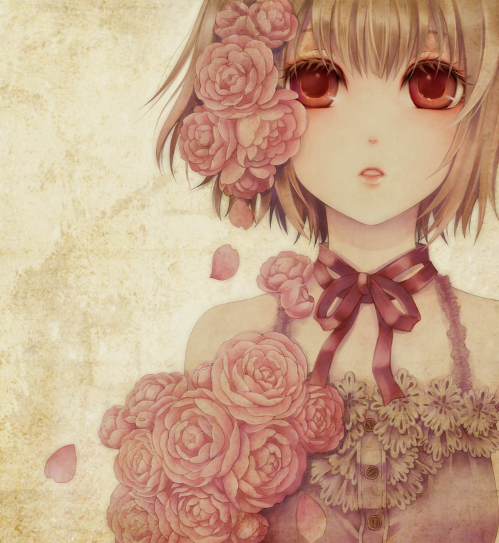 artist_request colored_eyelashes eyelashes flower original petals pink_rose red_eyes ribbon_choker rose rose_petals short_hair sleeveless solo yamaneko514