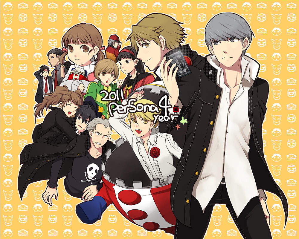amagi_yukiko bad_id black_hair blonde_hair brown_eyes brown_hair card doujima_nanako doujima_ryoutarou everyone fox grey_eyes grey_hair hairband hanamura_yousuke holding holding_card izanagi izanami kubo_mitsuo kujikawa_rise kuma_(persona_4) long_hair narukami_yuu persona persona_4 plush satonaka_chie school_uniform seta_souji shirogane_naoto short_hair tatsumi_kanji yunaka