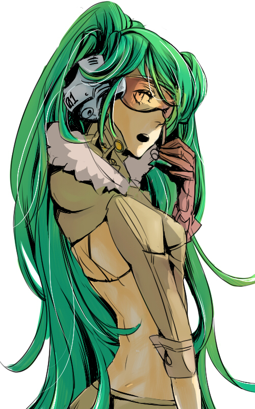 bad_id gloves goggles green_hair hatsune_miku headset hoodie long_hair looking_back nono_(tagazumi) simple_background solo very_long_hair vocaloid