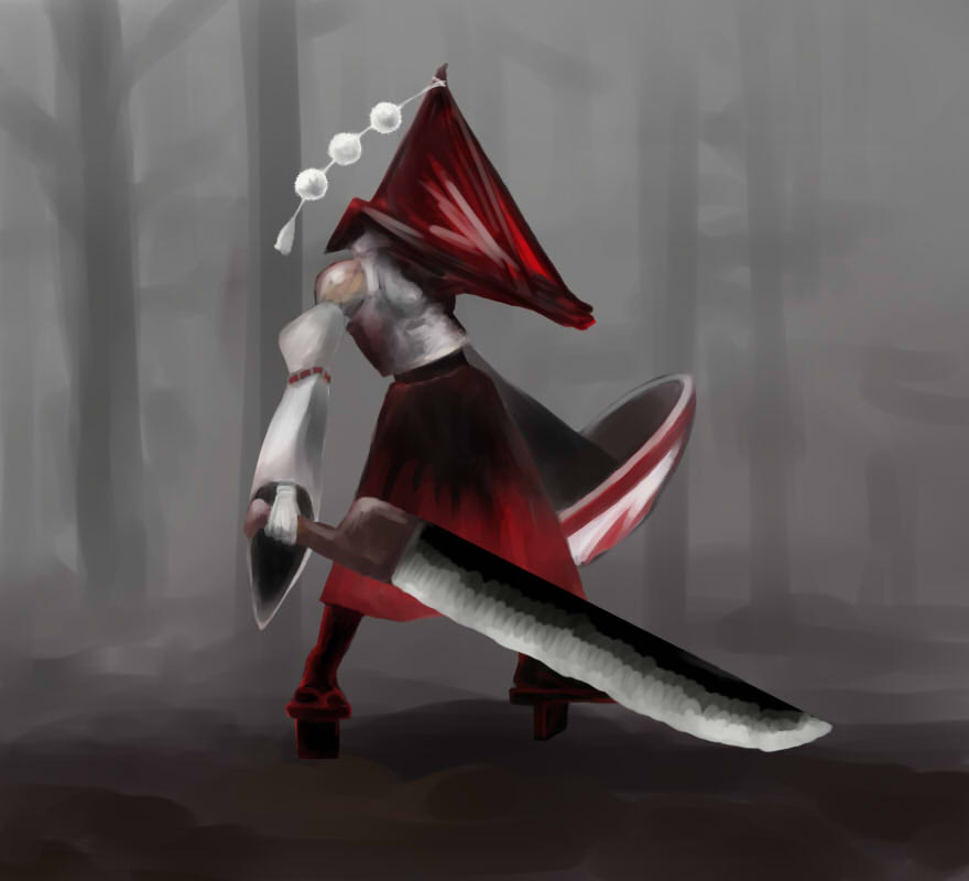 crossover detached_sleeves fusion geta gloves graetz great_knife helmet inubashiri_momiji parody pyramid_head shield silent_hill silent_hill_2 skirt solo sword tengu-geta touhou weapon