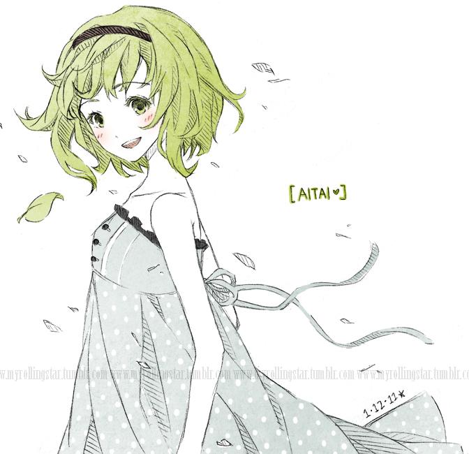 aitai_(vocaloid) blush dress face green_eyes green_hair gumi hairband joanna_(mojo!) leaf myrollingstar open_mouth short_hair sketch smile solo sundress traditional_media vocaloid watermark