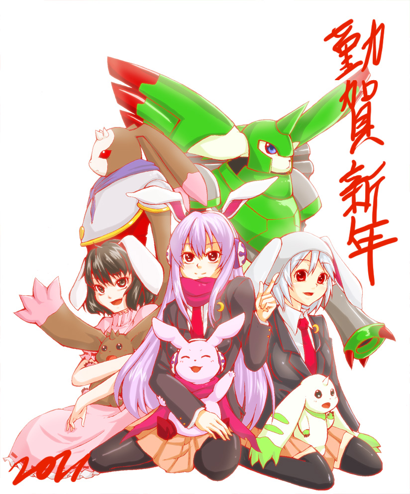 animal_ears antylamon black_eyes black_hair blue_eyes blue_hair bunny_ears creature crescent crossover cutemon digimon digimon_tamers digimon_xros_wars horn horns inaba_tewi long_hair lopmon pleiad purple_hair rapidmon red_eyes reisen reisen_udongein_inaba short_hair skirt terriermon thighhighs touhou
