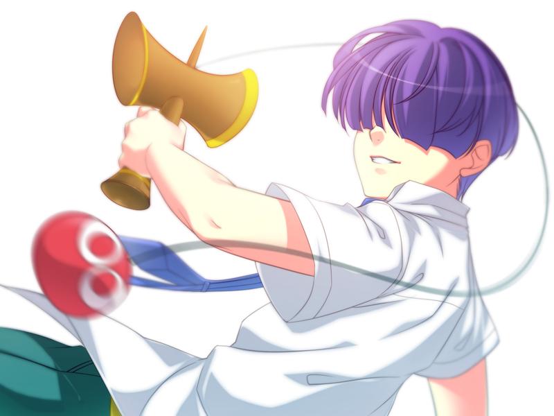 1boy grin hair_over_eyes kendama male mikapoe necktie purple_hair puyo_(puyopuyo) puyopuyo puyopuyo_7 sasaki_maguro shirt smile solo white_background