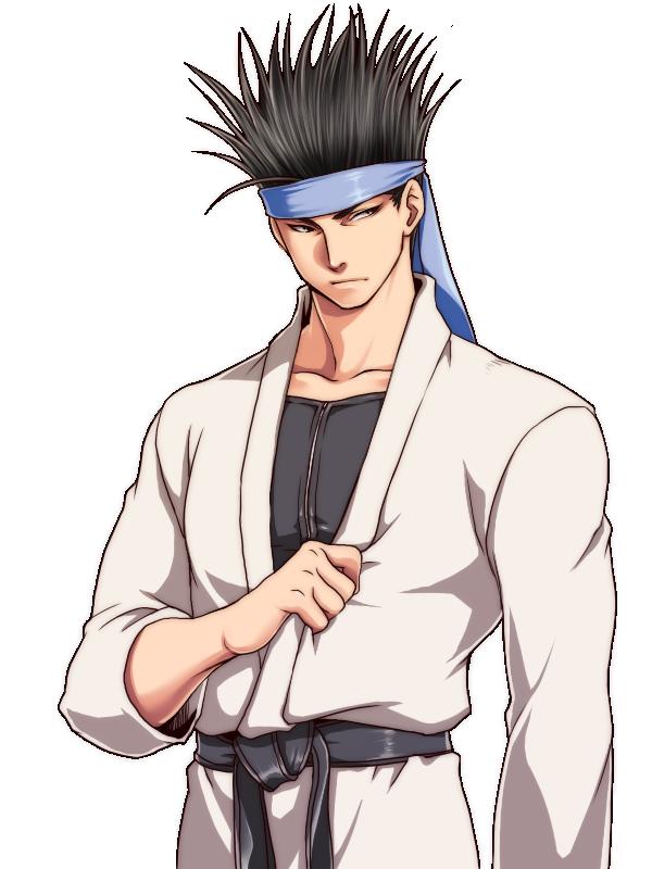 bandana belt black_hair esaka kung_fu_man m.u.g.e.n mugen_(game) short_hair spiked_hair