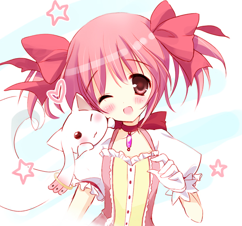 blue_eyes bust choker gloves hair_ribbon hair_ribbons jewelry kaname_madoka kyubey kyuubee lowres mahou_shoujo_madoka_magica mamita pendant pink_eyes pink_hair ribbon short_hair star twintails white_gloves wink