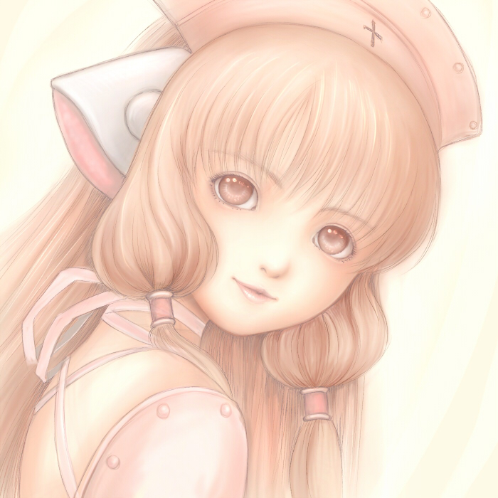 blonde_hair chii chobits face hair_tubes hat light_smile lips nurse_cap pink_eyes robot_ears solo tyamaguch