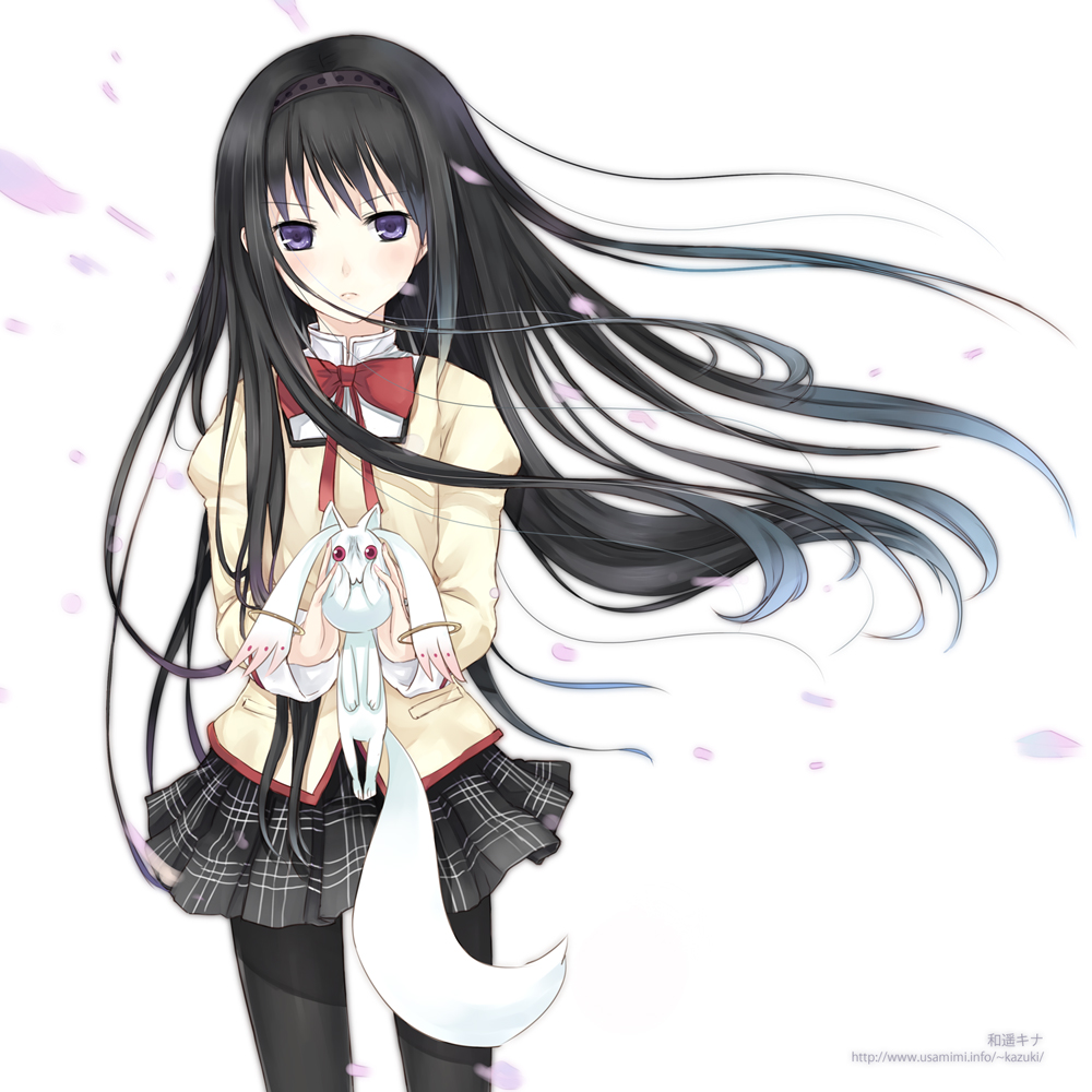 akemi_homura black_hair black_legwear black_pantyhose floating_hair hairband kazuharu_kina kyubey kyuubee long_hair mahou_shoujo_madoka_magica pantyhose petals purple_eyes school_uniform solo violet_eyes wind