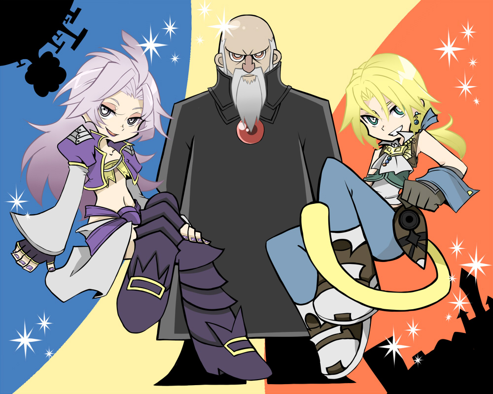 androgynous beard blonde_hair earrings facial_hair final_fantasy final_fantasy_ix garland_(ff9) garland_(ffix) jewelry kuja long_hair male migihidari_morimori multiple_boys panty_&_stocking_with_garterbelt parody ponytail purple_hair spoilers style_parody tail zidane_tribal