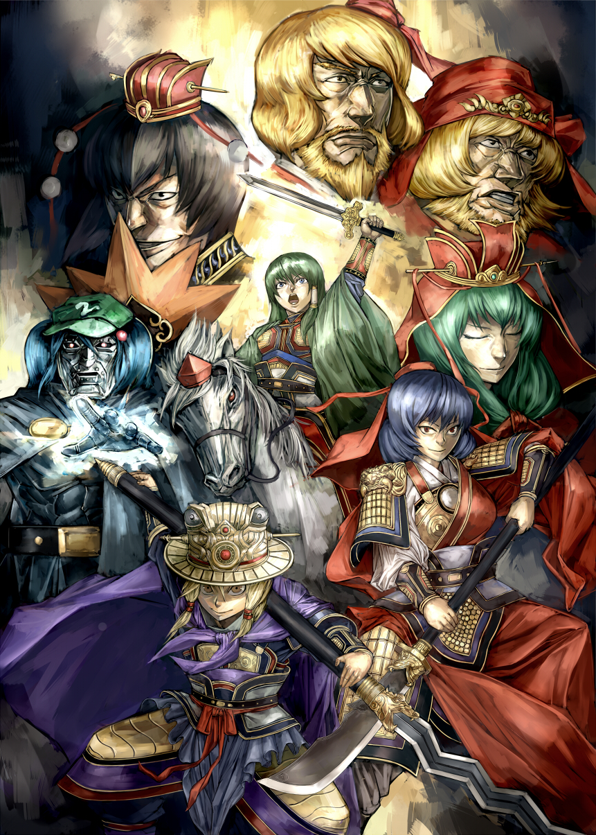 aki_minoriko aki_shizuha alternate_costume armor beard blonde_hair blue_eyes blue_hair bracer chinese_clothes closed_eyes doctor_doom facial_hair fan glowing glowing_eyes green_hair hair_bobbles hair_ornament hat headdress highres horse inubashiri_momiji kagiyama_hina kawashiro_nitori kirisame_marisa kochiya_sanae man_face manly marvel mask matsutake_umeo moriya_suwako mountain_of_faith multiple_girls open_mouth outstretched_hand pauldrons polearm red_eyes romance_of_the_three_kingdoms samurai_armor shameimaru_aya spear sword tokin_hat touhou weapon yasaka_kanako