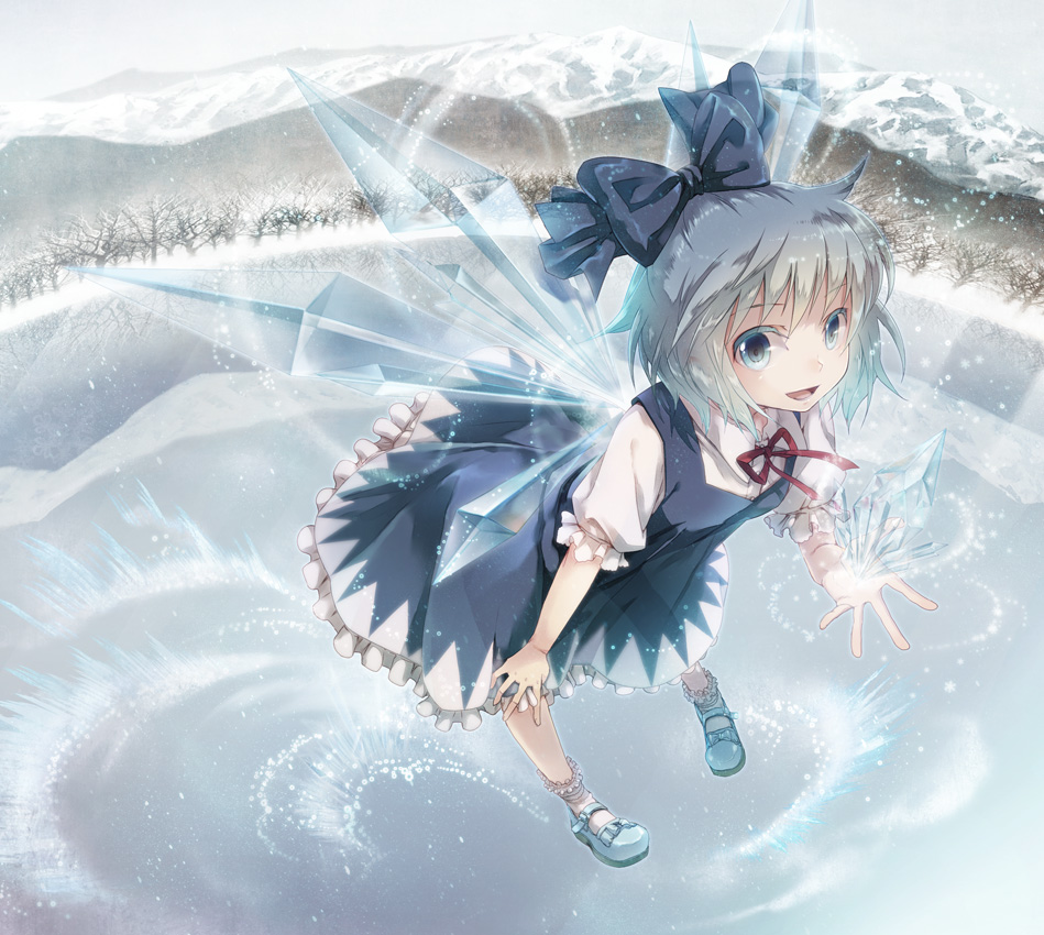album_cover blue_dress blue_eyes blue_hair bow cirno colored_eyelashes cover crystal dress flying forest hair_bow ice lake leaning_forward light_particles looking_at_viewer mary_janes miyuki_ruria mountain nature perfect_cherry_blossom pigeon-toed pigeon_toed reflection shoes short_hair smile snow snowflakes solo touhou transparent wings winter