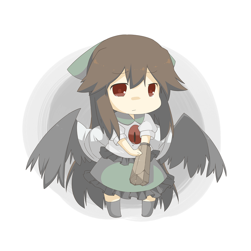 1girl 2011_sendai_earthquake_and_tsunami arm_cannon bad_id black_hair broken chibi eiri_(eirri) reiuji_utsuho solo tears touhou transparent_background weapon wings