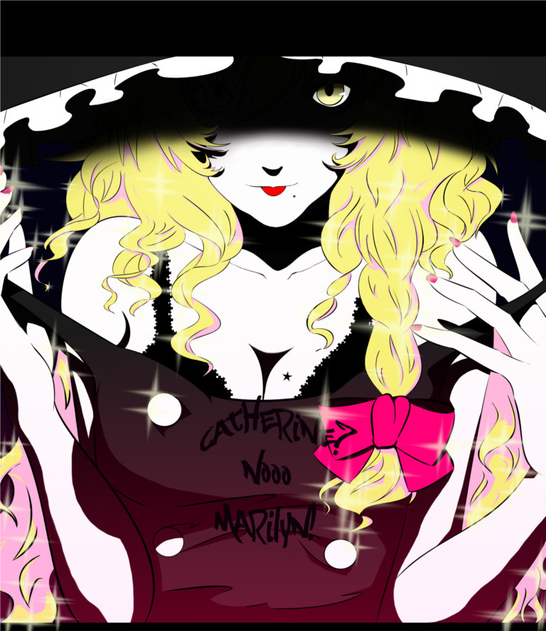 :p bare_shoulders blonde_hair bow bra braid breasts bust catherine_(game) catherine_cover_parody cleavage fingernails hair_bow hair_ornament hat kirisame_marisa liarlip lingerie long_fingernails long_hair mole nail nail_polish nails parody shaded_face single_braid solo sparkle star strap_pull tongue touhou underwear witch witch_hat yellow_eyes