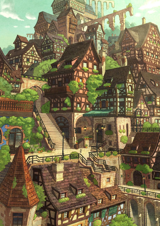 bridge bush cat cityscape highres medieval no_humans original scenery sebascha sky stairs town tree